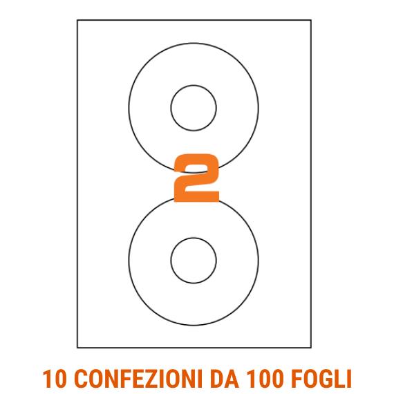 Etichette circolari in fogli A4  diametro 117,5mm con foro 41mm