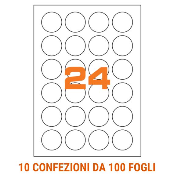 Etichette circolari in fogli A4 diametro 40 mm con margini