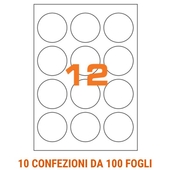 Etichette circolari in fogli A4 diametro 60 mm con margini