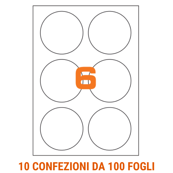 Etichette circolari in fogli A4 diametro 80 mm con margini