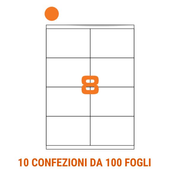Etichette in fogli A4 formato 105x70 carta fluo arancio angoli arrotondati