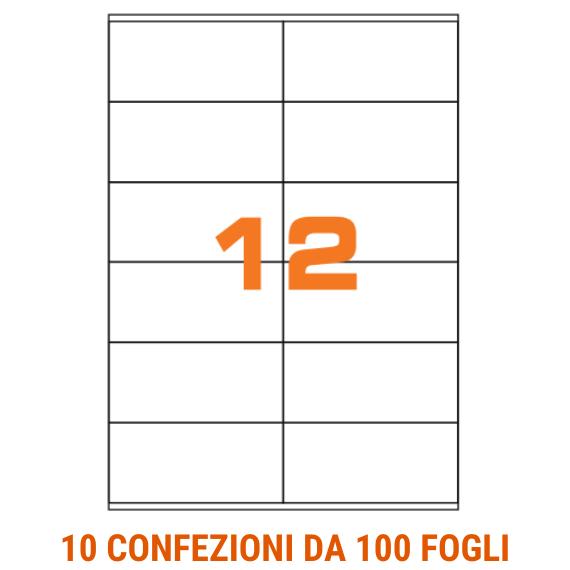 Etichette in fogli A4 formato 105x48 con margini