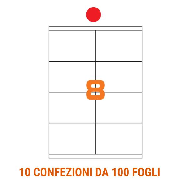 Etichette in fogli A4 formato 105x70 carta fluo rosso