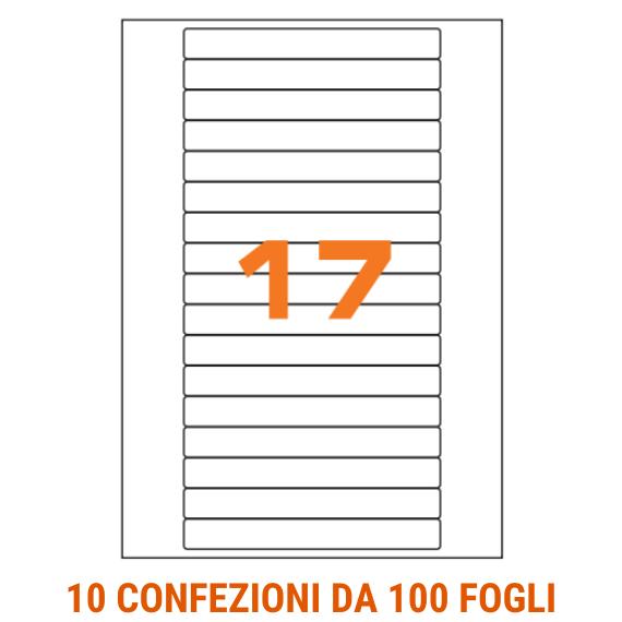 Etichette in fogli A4 formato 145x17 con angoli arrotondati