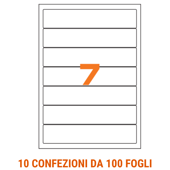 Etichette in fogli A4 formato 190x38 con angoli arrotondati