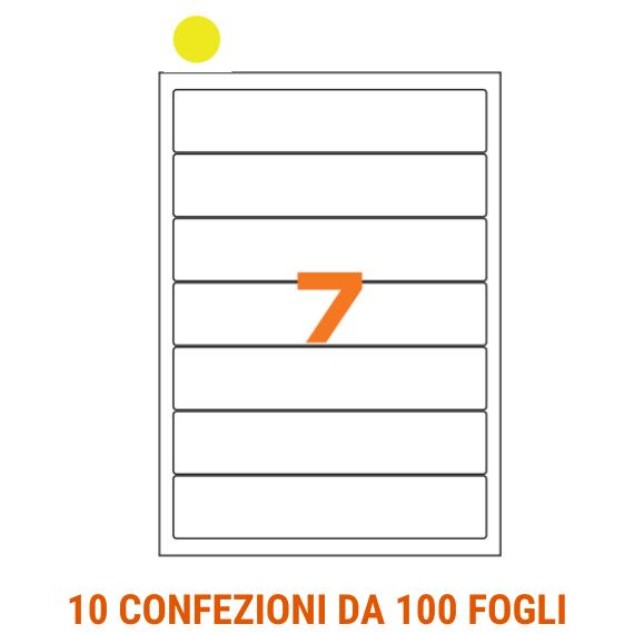 Etichette in fogli A4 formato 190x38 fondo giallo angoli arrotondati