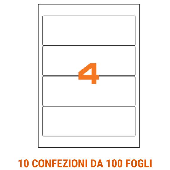 Etichette in fogli A4 formato 190x61 con angoli arrotondati