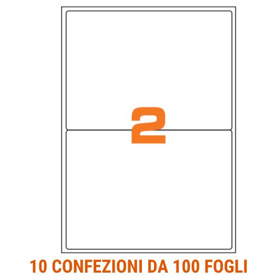 Etichette in fogli A4 formato 199,6x143,5 con margini