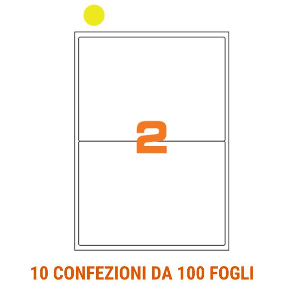 Etichette in fogli A4 formato 200x142 carta fluo gialla angoli arrotondati