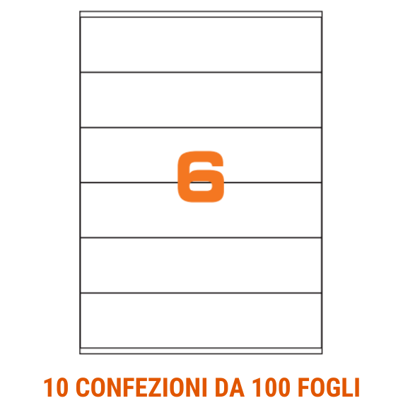 Etichette in fogli A4 formato 210x48