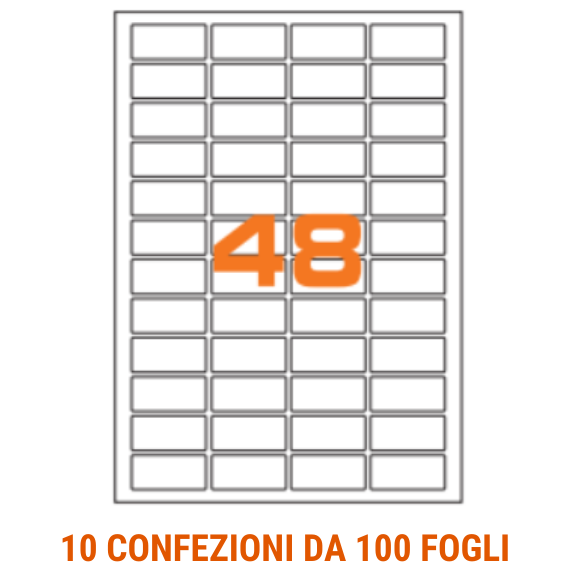 Etichette in fogli A4 formato 22x12,7