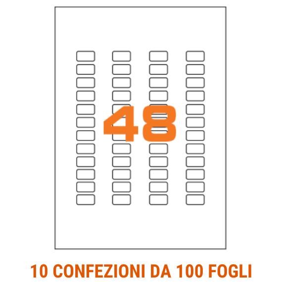 Etichette in fogli A4 formato 22x12,7 con angoli arrotondati