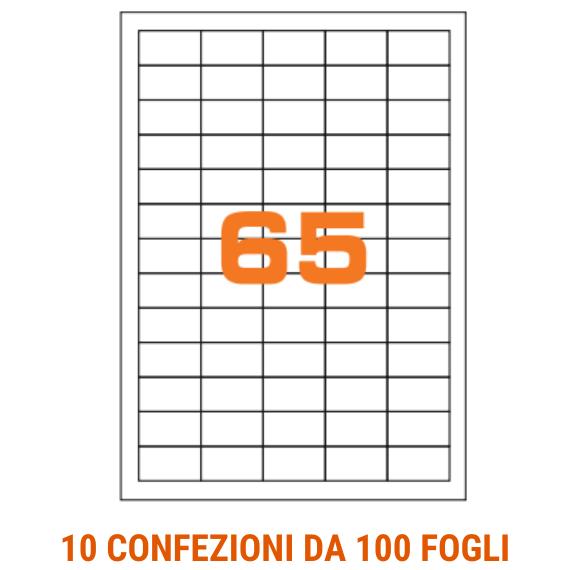 Etichette in fogli A4 formato 38x21,2 con margini