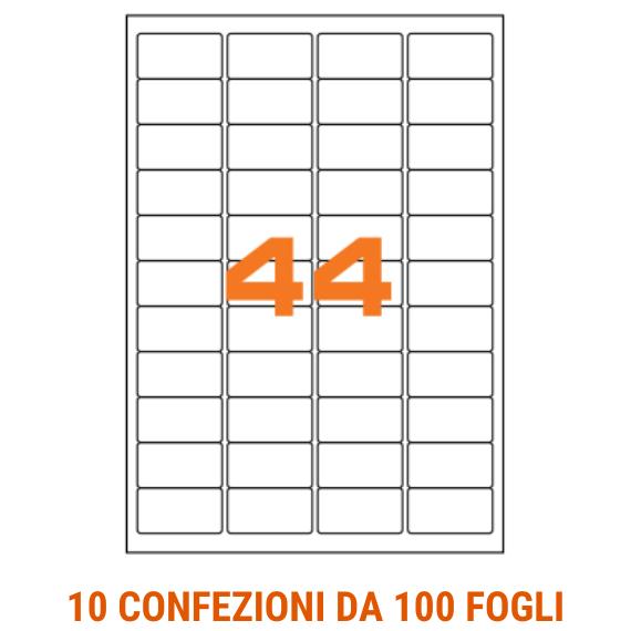 Etichette in fogli A4 formato 47,5x25,5 angoli arrotondati