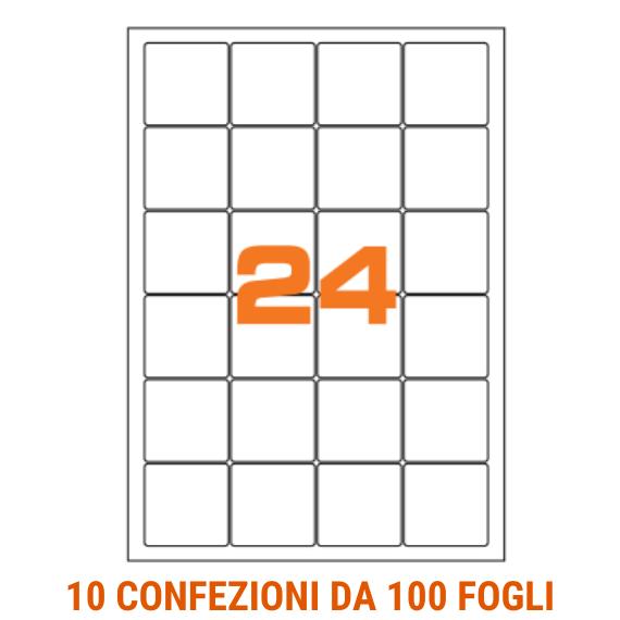 Etichette in fogli A4 formato 47,5x46,5 angoli arrotondati