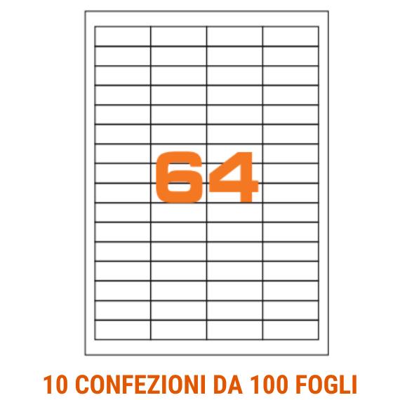 Etichette in fogli A4 formato 48,5x16,9 con margini