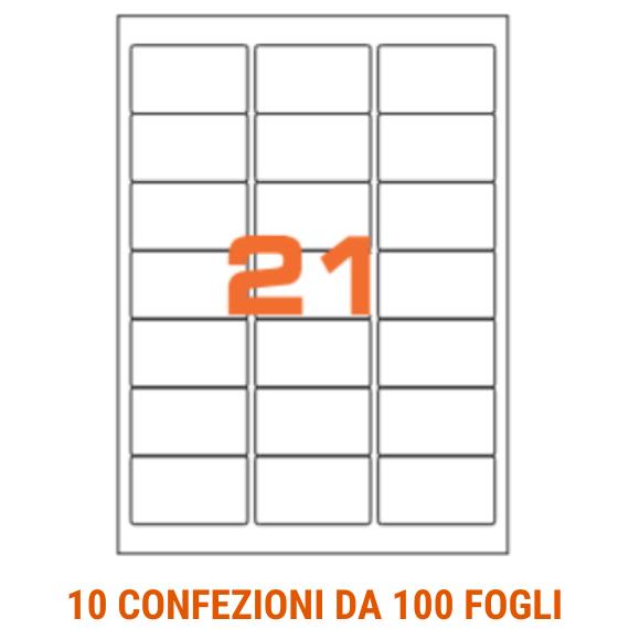 Etichette in fogli A4 formato 63,5x38,1 angoli arrotondati