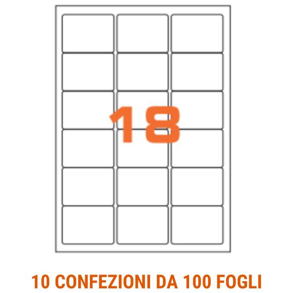 Etichette in fogli A4 formato 63,5x46,6 angoli arrotondati