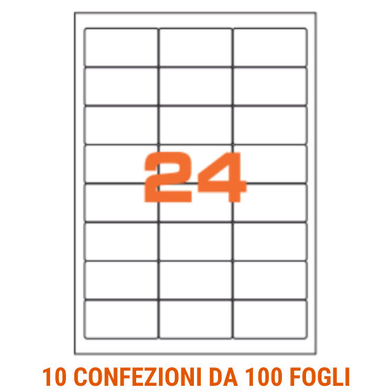 Etichette in fogli A4 formato 64,6x33,8 angoli arrotondati