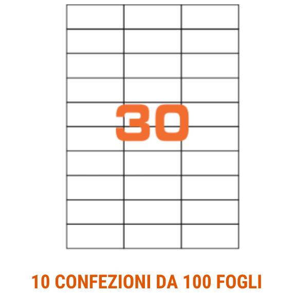 Etichette in fogli A4 formato 70x29,7 senza margini