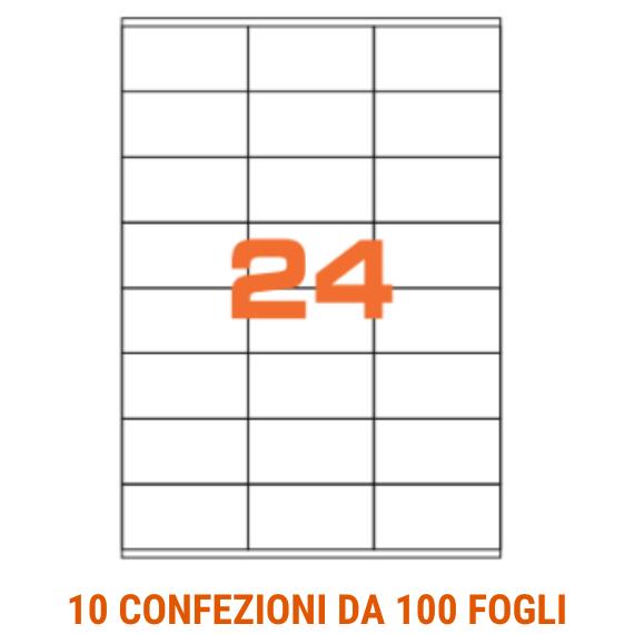 Etichette in fogli A4 formato 70x36 con margini