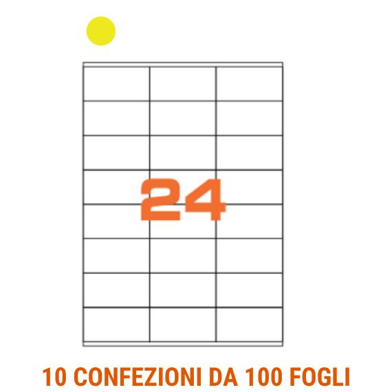 Etichette in fogli A4 formato 70x36 fondo giallo con margini