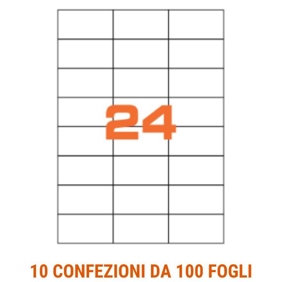Etichette in fogli A4 formato 70x37 senza margini