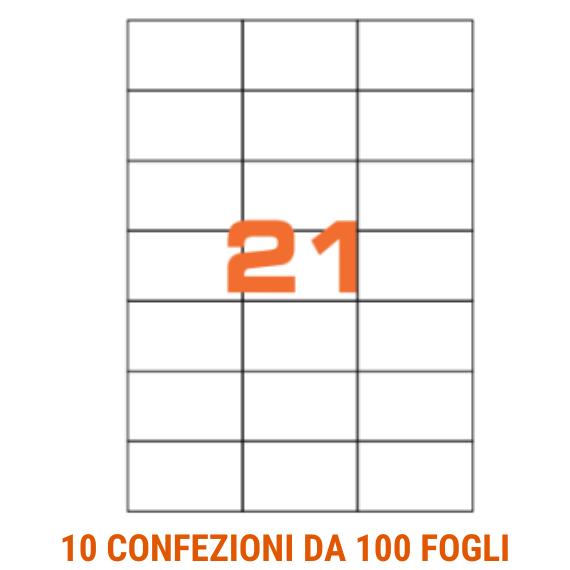 Etichette in fogli A4 formato 70x42,3 senza margini