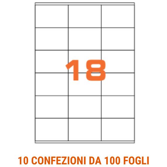 Etichette in fogli A4 formato 70x48 pet trasparente opaco senza margini