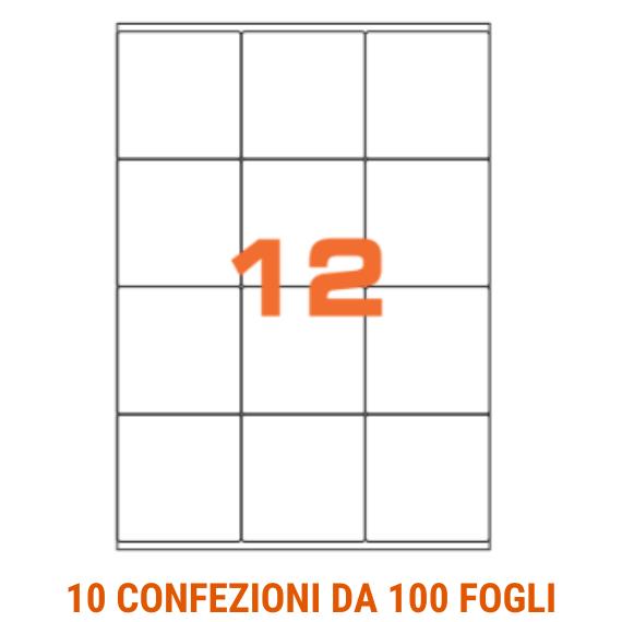 Etichette in fogli A4 formato 76,2x46,4 angoli arrotondati
