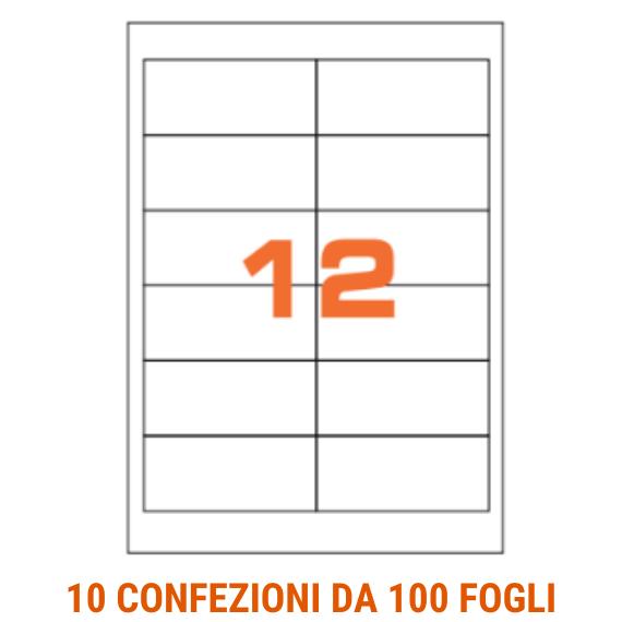 Etichette in fogli A4 formato 97x42,3 angoli arrotondati