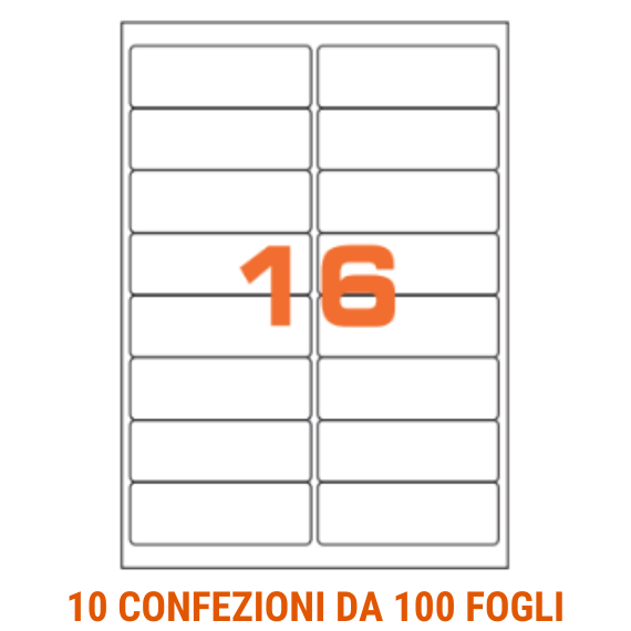 Etichette in fogli A4 formato 99,1x34 angoli arrotondati