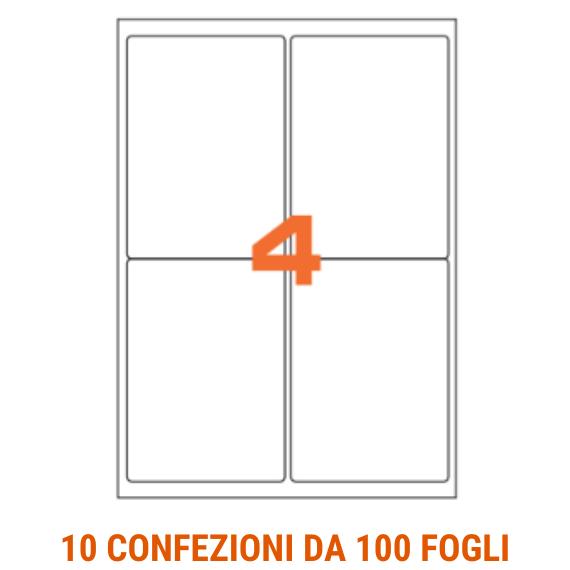 Etichette in fogli A4 formato 99,1x139 angoli arrotondati
