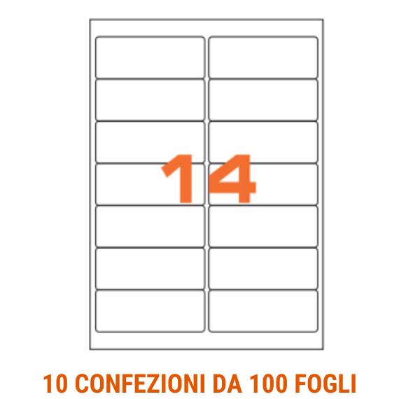 Etichette in fogli A4 formato 99,1x38,1 angoli arrotondati