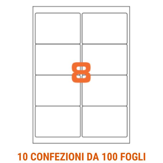 Etichette in fogli A4 formato 99,1x67,7 angoli arrotondati