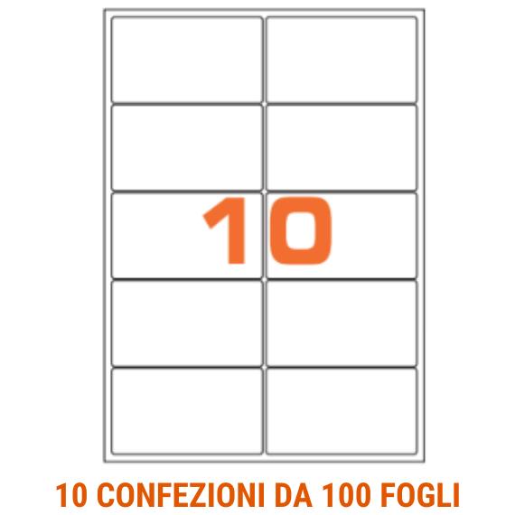 Etichette in fogli A4 formato 99,6x57 angoli arrotondati