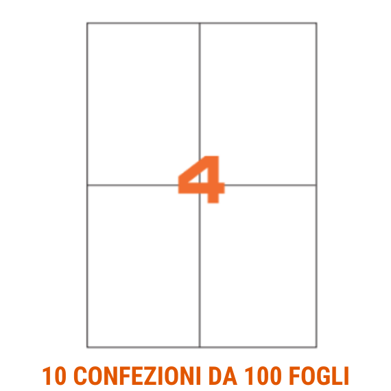 Etichette in fogli A4 formato 99x142 angoli arrotondati